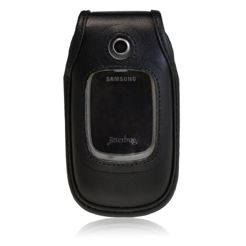 Greatcall R220 Jitterbug Plus Black Leather Fitted Cellphone with Rotating Removable Metal Clip