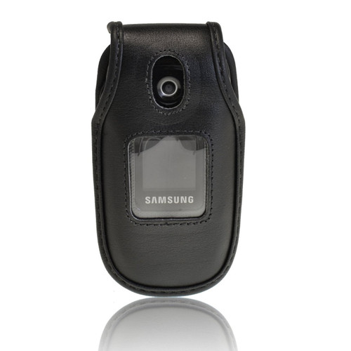 Samsung U360 Gusto Black Leather Fitted Case with Ratcheting Belt Clip