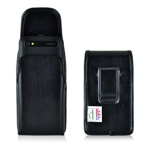 Blackberry Classic Q20 Vertical Leather Holster, Black Belt Clip