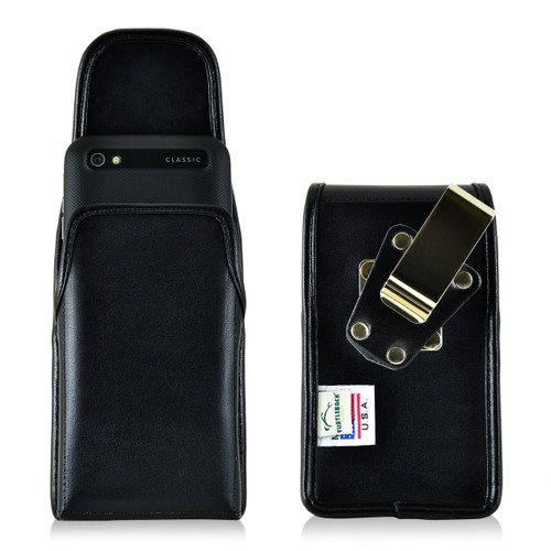 Blackberry Classic Q20 Vertical Leather Holster, Metal Belt Clip