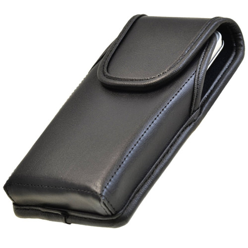 Casio GzOne Commando 4G LTE C811 Vertical Leather Holster, Black Belt Clip