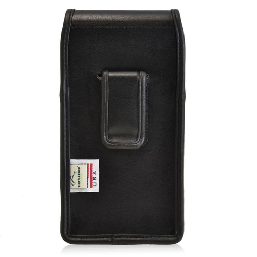 Google Nexus 6 Vertical Leather Holster, Black Belt Clip