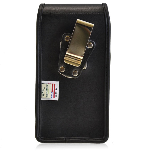 Google Nexus 6 Vertical Leather Holster, Metal Belt Clip