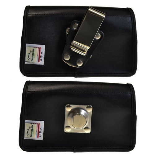 Horizontal Leather Extended Holster for Casio GzOne Commando C811 with Bulky Cases, Metal Belt Clip, Snap Closure