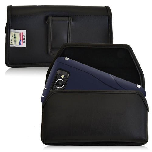 Horizontal Leather Extended Holster for Motorola Droid Turbo with Bulky Cases, Black Belt Clip