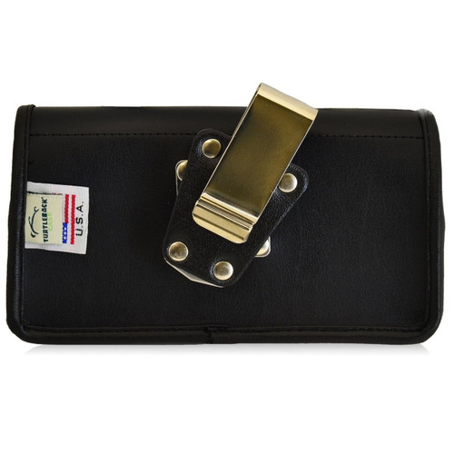 Horizontal Leather Extended Holster for Motorola Droid Turbo with Bulky Cases, Metal Belt Clip