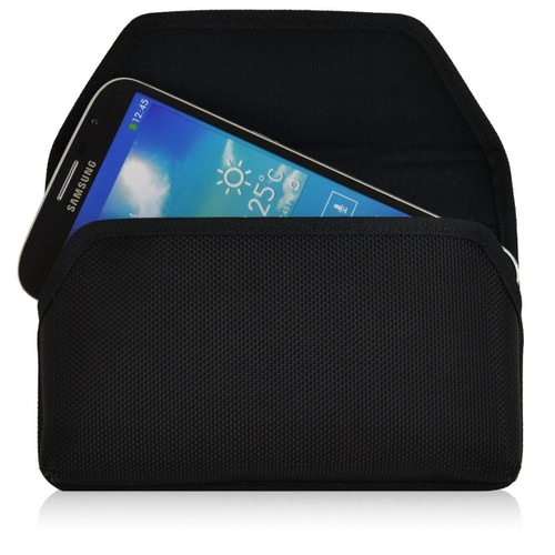 Horizontal Nylon Extended Holster for Samsung Galaxy Mega 6.3 with Bulky Cases, Metal Belt Clip