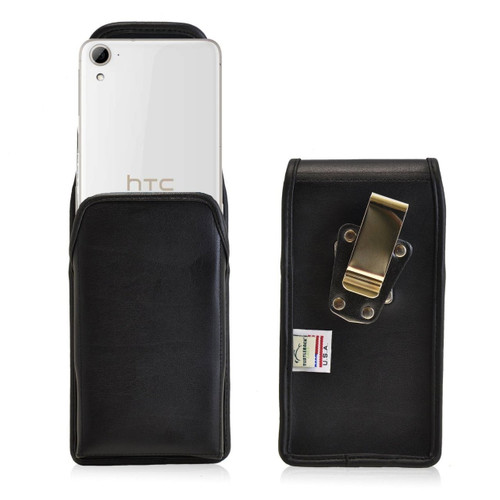 HTC Desire 826 Vertical Leather Holster, Metal Belt Clip