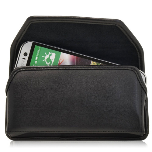 HTC One M8 Horizontal Leather Holster, Black Belt Clip