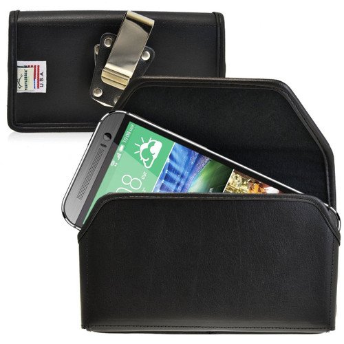 HTC One M8 Horizontal Leather Holster, Metal Belt Clip