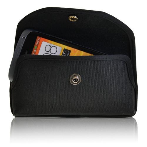 HTC One S Horizontal Nylon Holster, Metal Belt Clip, Snap Closure