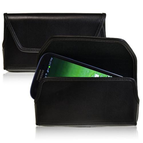 Samsung Galaxy S3 III Horizontal Leather Holster, Black Belt Clip