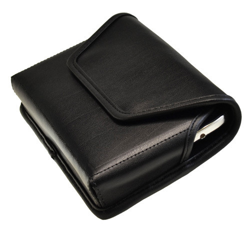 6.49 X 3.53 X.0.62 in - Horizontal Leather Holster, Black Belt Clip
