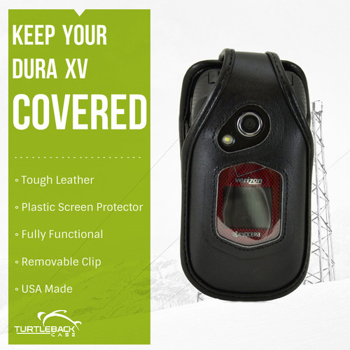 Kyocera DuraXV and DuraXA E4510Heavy Duty Black Leather Phone Case with Removable Metal Clip