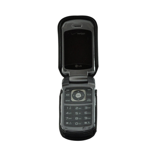 LG VX5600 Accolade Fitted Black Leather Phone Case with Rotating Metal Belt Clip