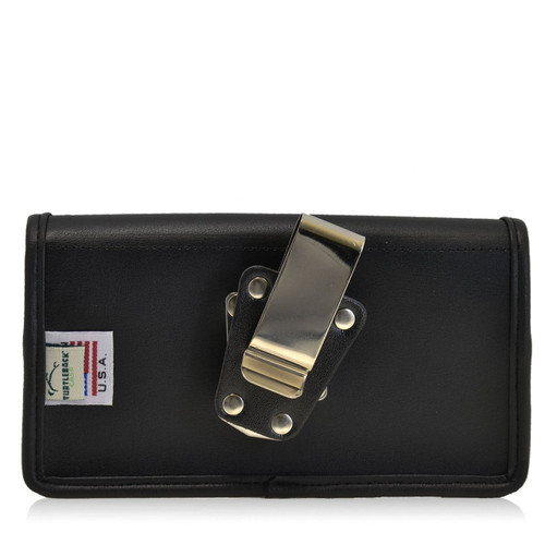 Horizontal Leather Extended Holster for HTC One M9 with Bulky Cases, Metal Belt Clip