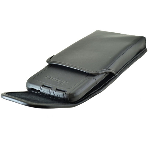 Vertical Leather Extended Holster for HTC One M9 with Bulky Cases, Black Belt Clip