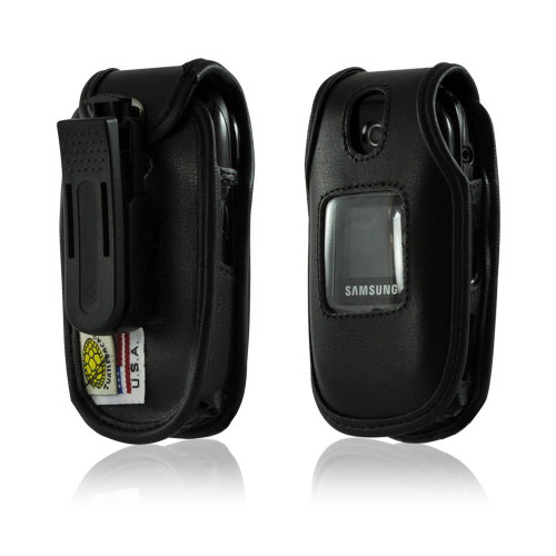 Samsung U365 Gusto 2 Black Leather Fitted Case with Ratcheting Belt Clip
