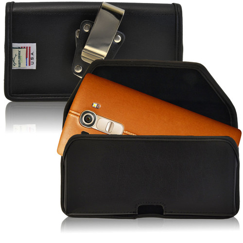 LG G4 Horizontal Leather Holster, Metal Belt Clip