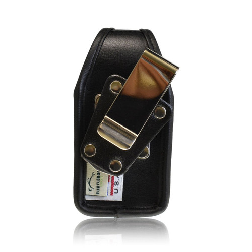 4.12 X 2.12 X 1.06in  - Leather Flip Phone Holster with  Metal Belt Clip