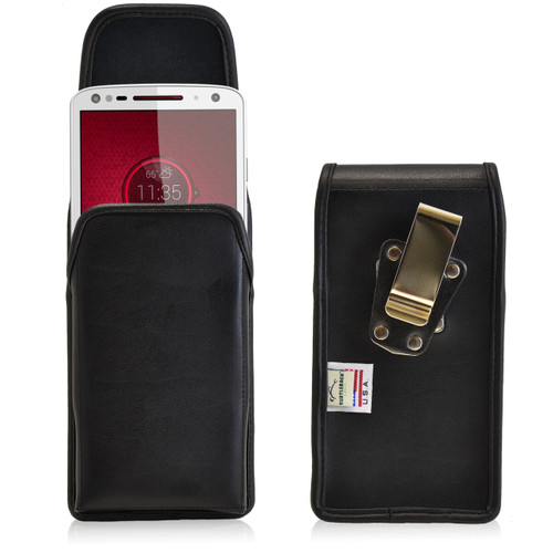 Droid Turbo 2 Vertical Leather Holster Metal Clip