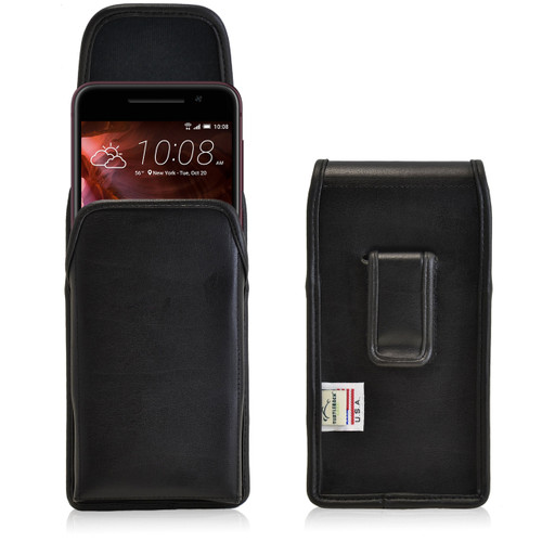 HTC One A9 Vertical Leather Holster Black Clip