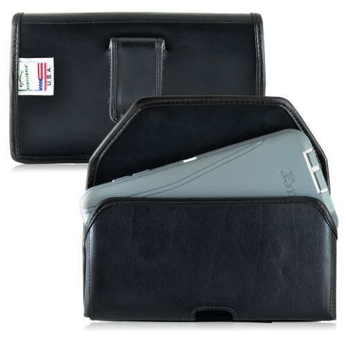Galaxy Note 5 Leather Holster for Otterbox DEFENDER Case Black Clip and Fits Bulk Cases