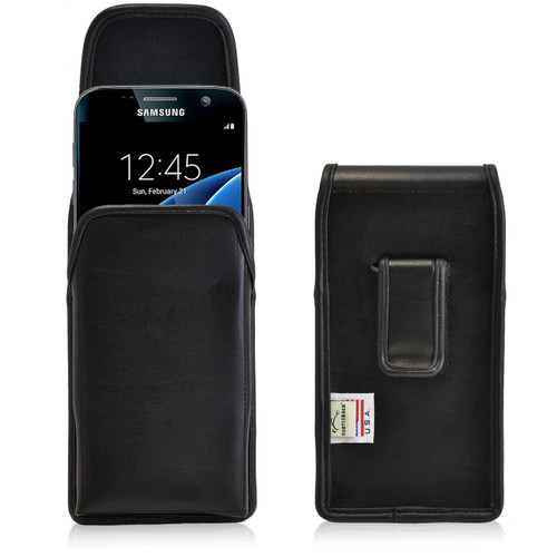 Turtleback Holster compatible for Samsung Galaxy S10e A10e S7 Black Vertical Belt Case Leather Pouch with Executive Belt Clip Made in USA
