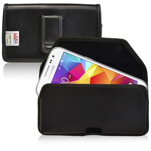 Galaxy Core Prime Leather Black Holster Case, Black Belt Clip