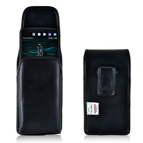 LG V10 Vertical Leather Holster Case Black Belt Clip