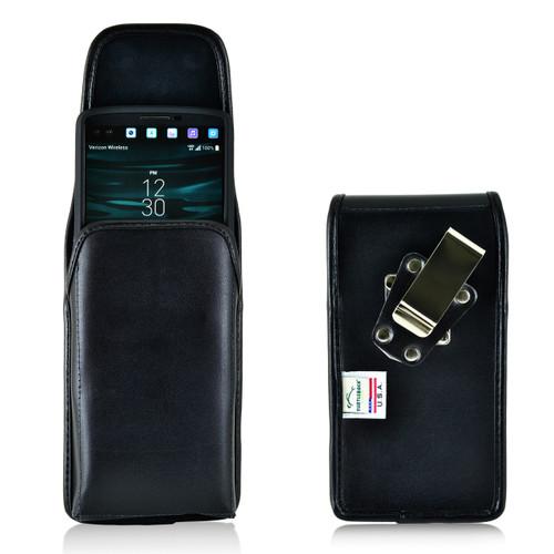 LG V10 Vertical Leather Holster Case Metal Belt Clip
