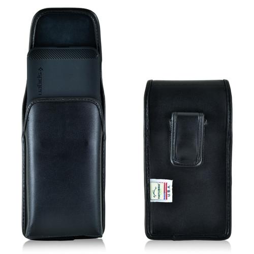 Nexus 6P Vertical Leather Holster Case Black Belt Clip