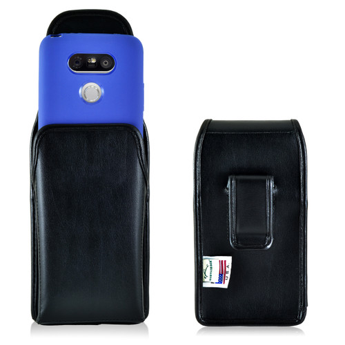 Turtleback LG G5 Vertical Leather Holster Case, Black Belt Clip