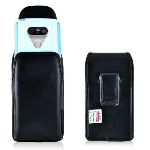 Turtleback LG G5 Vertical Leather Holster Case with Black Clip for Otterbox Commuter