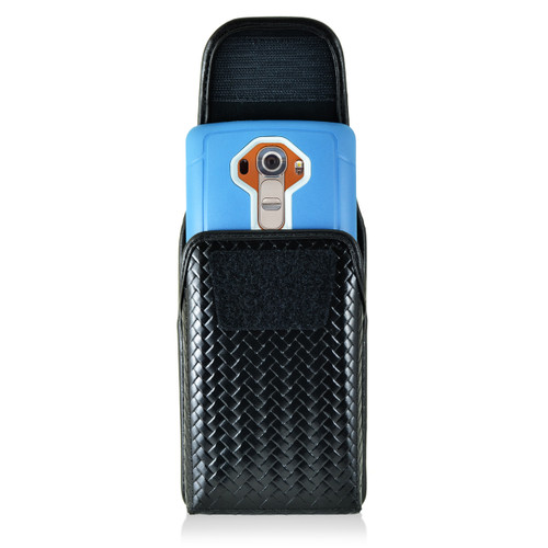 iPhone 6S Samsung S7 Police Pouch Holster Vertical hook and loop Closure Black Basketweave Leather with Heavy Duty Rotating Belt Loop fits Otterbox Defender and Bulky Cases