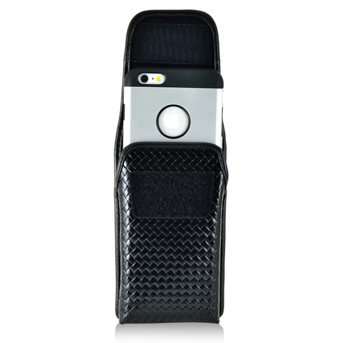iPhone 6S Plus Samsung S7 Edge Police Pouch Holster Vertical hook and loop Closure Black Basketweave Leather with Heavy Duty Rotating Belt Loop fits Slim Cases Made in USA