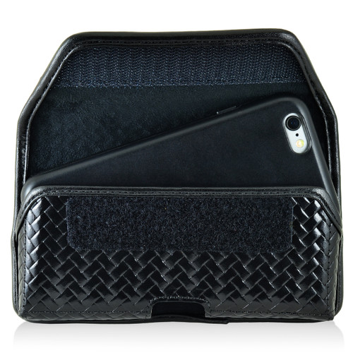 iPhone 6S Samsung S7 Police Pouch Belt Clip Horizontal hook and loop Closure Black Basketweave Leather Holster Pouch with Heavy Duty Rotating Belt Loop fits Slim Cases