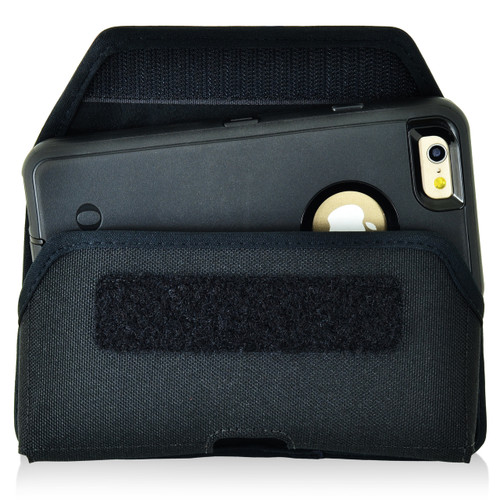 iPhone 6S Police Pouch Belt Case Horizontal hook and loop Closure Black Nylon Belt Clip Pouch with Heavy Duty Rotating Belt Loop fits Otterbox Defender and Bulky Cases