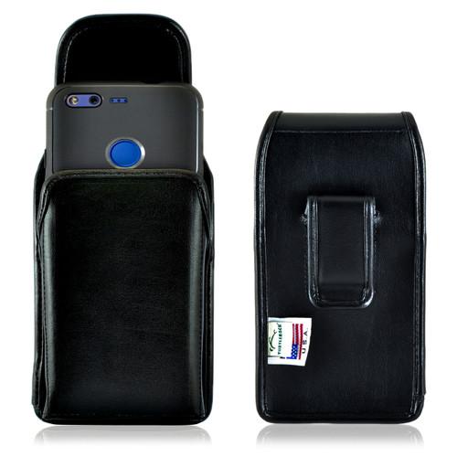 Google Pixel Holster, Vertical Google Pixel Belt Case, Executive Metal Belt Clip, Black Leather Pouch