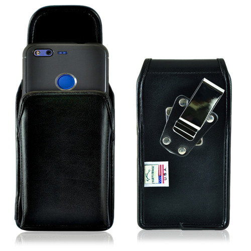 Google Pixel Belt Case, Vertical Google Pixel Holster, Rotating Belt Clip, Black Leather Pouch, Heavy Duty