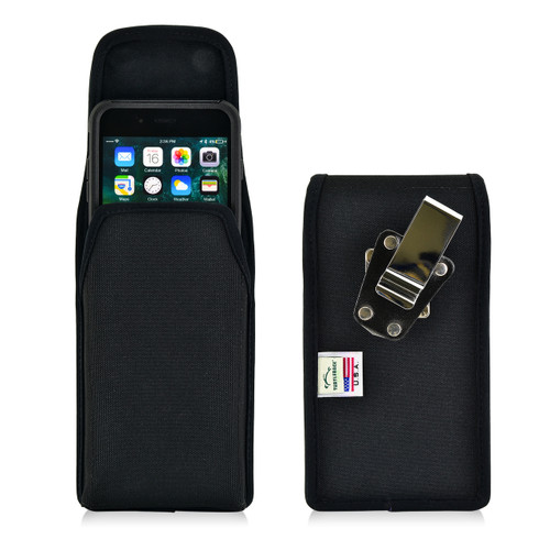iPhone 8 Plus and iPhone 7 Plus Nylon Vertical Holster Metal Clip Fits Otterbox Commuter