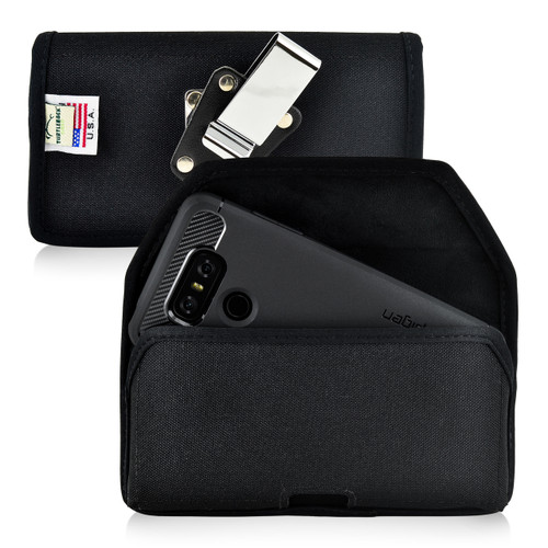LG G6 Nylon Holster Case Metal Belt Clip