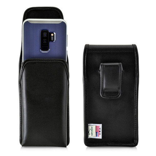 Turtleback Holster Compatible with Galaxy S10+ Plus S9+ S8+ A30 A20 A50, Vertical Belt Case Fits Phones with Slim Case, Executive Metal Belt Clip, Black Leather Pouch, Made in USA