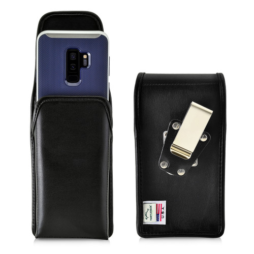 Turtleback Holster Compatible with Galaxy S10+ Plus S9+ S8+ A30 A20 A50, Belt Case, Vertical Rotating Belt Clip, Black Leather Pouch, Heavy Duty Made in USA