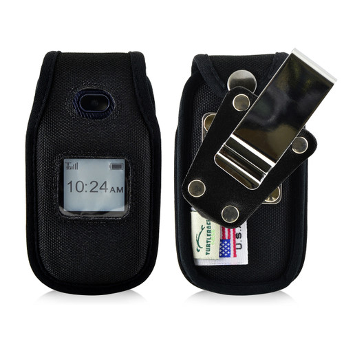 ZTE Z222 Leather Flip Phone Fitted Case Metal Clip