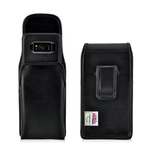 Galaxy S8 Leather Vertical Holster Black Belt Clip Fits with OTTERBOX Commuter