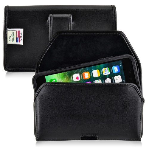iPhone 6S Plus Leather Horizontal Holster Black Belt Clip Fits with OTTERBOX Commuter