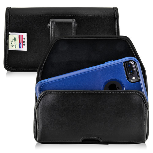 iPhone 6S Leather Horizontal Holster Black Belt Clip Fits with OTTERBOX Commuter