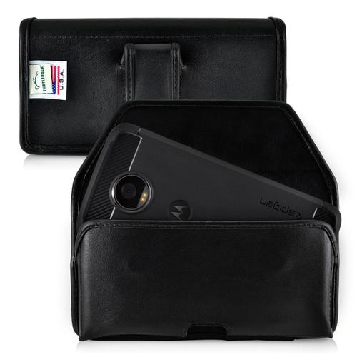 Motorola Moto Z2 Play Holster Black Belt Clip Case Pouch Leather