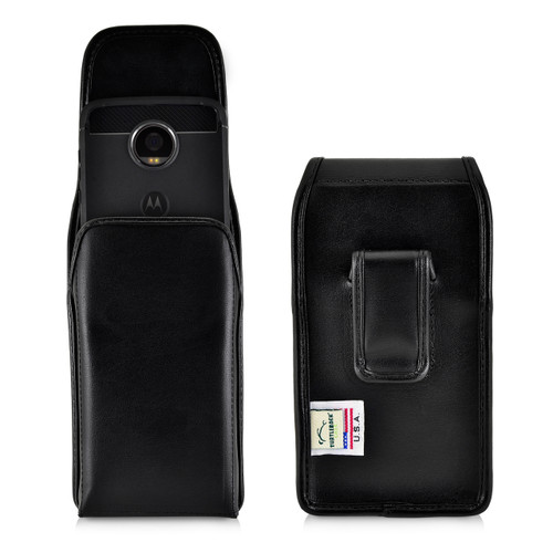 Motorola Moto Z2 Play Holster Black Clip Case Pouch Leather Vertical